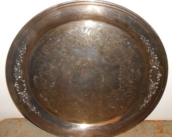 Vintage Tray, Silver, Platter, Oneida, Round, Serving Tray, Scroll  Design, Large, 17 inch