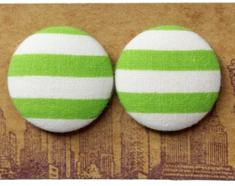 Wholesale Button Earrings / Green and White / Bulk Jewelry / Striped / Unique Gift Ideas / Fabric Covered / Stud Earrings / Made in USA