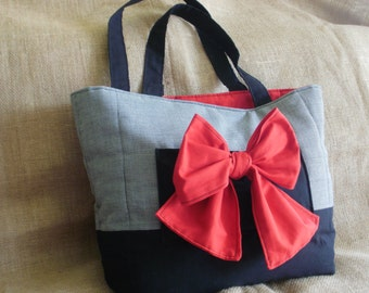 Classic Black White Houndstooth Tote Large Cherry Red Bow