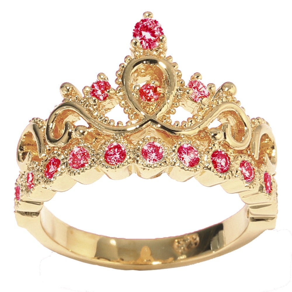 14K Yellow Gold Princess Crown with Birthstone Rings Gold Princess Crown