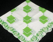 "Vintage Handkerchief, Huge 16"" White Green Collectible Hankie - Craft, Framing,  or Sewing Hankie Lot K-2"