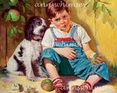 "Dog and Little Boy, ""Sorry You're  Sick, Kid"" Antique Art Print Restored - Original Restored from 1926, Dog Comforts Boy  #71"
