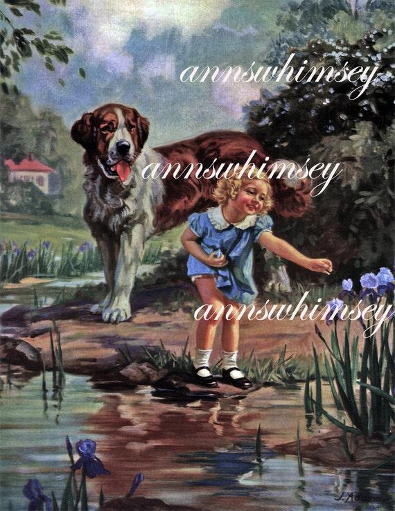 1930s Dog And Girl Wall Art St Bernard Wall Art Restored