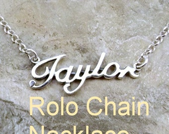 Sterling Silver Name *Taylor* in your Length and Choice of Sterling Silver Necklace Chain Style - 2121