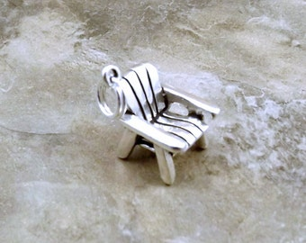 Sterling Silver Adirondack/Beach Chair Charm on a Split Ring - 0029