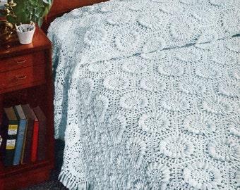 Sunflower Bedspread Pattern, Vintage 1940s Crochet Pattern, Crochet Lace Floral Bedspread,PDF instant download