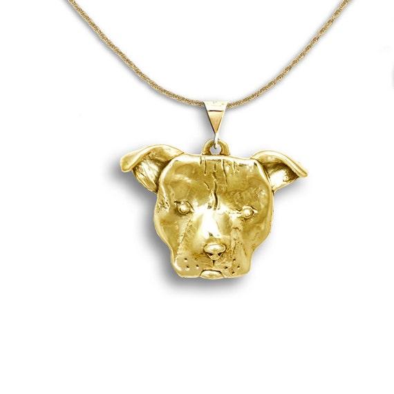 14k gold large pit bull pendant