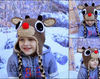 Reindeer hat.Crochet Rudolph the Reindeer hat. Crochet hat.Made to order.