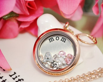 Mothers Day floating locket with crystals and charms UK