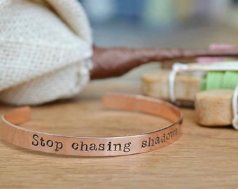 Stamped copper cuff personalised Hand stamped Cuff bracelet personalised unisex bangle ladies