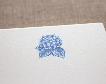 Flat Card Set with Letterpress Hydrangea (vertical)