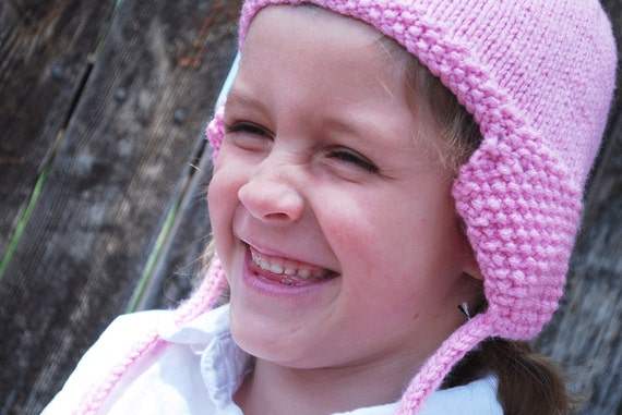 Pink Hand Knit Ear Flap Hat Toddler to Youth