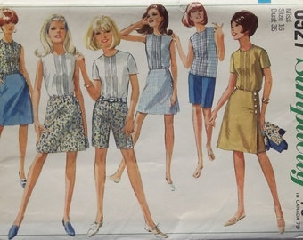 Vintage 1966 Simplicity Sewing Pattern For Misses Wrap Skirt, Shorts, And Blouse