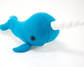 Medium Blue Narwhal Stuffed Animal, Plush Toy, Plushie, Softie