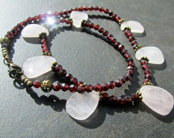 CLEARANCE, Reduced 40%, Gemstone Statement Necklace, Rose Quartz, Red Garnet, Semi Precious, Natural Stone, Gemstone Jewelry  312