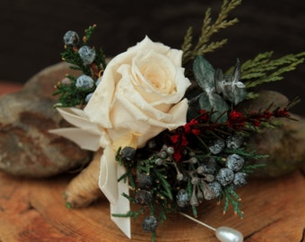 Rustic Valentines Winter Rose Wedding Boutonniere, Woodland Boutonniere, Grooms White Rose Boutonniere, Dried Flower Boutonniere, Bridal
