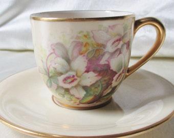 1930s American HandPainted Porcelain Demitasse Cup and Saucer. Wedding Gift, Housewarming Gift,Anniversary Gift, Christmas Gift,Kwanzaa Gift