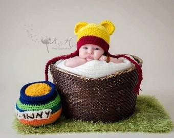 "Winnie the Pooh Hat with ""Hunny"" pot 0-3 months"