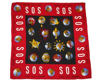 Moschino 1990s Collectible Vintage Square Silk Scarf SOS Save Our Sphere
