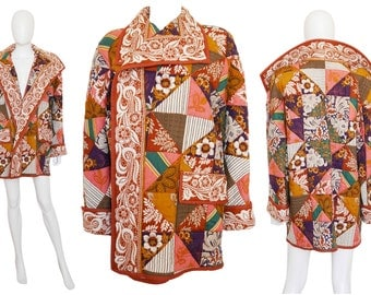Valentino Rare 1970s Vintage Quilted Jacket Patchwork Coat Extraordinary Piece Designer Fashion US Size 10-12 Medium