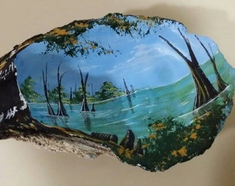 Oyster Shell Art  with  Louisiana Swamp Scene