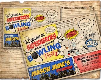 Bowling superhero party invitation - Superhero bowling party invitation - bowling birthday and superhero birthday invitation - you print!