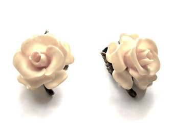 Vintage Celluloid Plastic Roses Earrings delicate , translucent, realistic Circa 1950