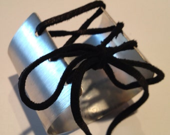 Corset Cuff Bracelet in Brushed Sterling Silver with Black Leather Lacing