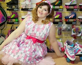 SALE 1950's Style Pink Cats Dress (UK Sizes 8-24)