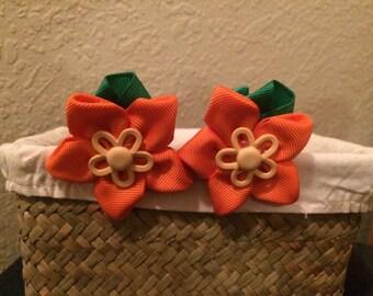 Ribbon Flower Bows Orange