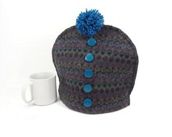 Sweater tea cozy Teal purple Cloth tea pot cosy Fair Isle wool cozy Pom pom Country cabin Ski chalet decor Upcycled
