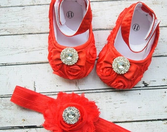 Red Baby Girl Shoes-Fancy Glamour Baby Crib Shoes-Baby Headband and Shoes-Baby Girl Headband-Newborn Baby Girl