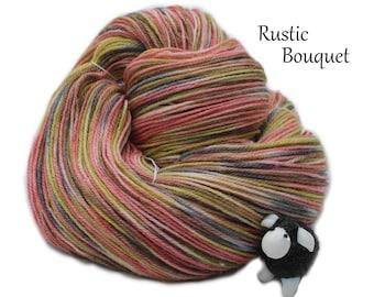 PHAT FIBER - Rustic Bouquet - Hand Dyed, Hand Painted Panda Sock Yarn (superwash merino, bamboo, nylon) 4oz/113g/450yrds