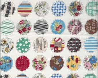 Small Retro Circles  Col A by Suzuko Koseki for  Yuwa of Japan