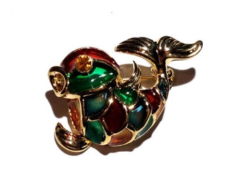 Fish Enamel Brooch, Gold Brooch, Pin, Enamel Brooch