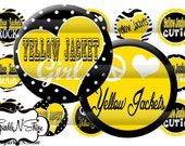 Instant Download Bottle Cap Image Sheet -Yellow Jackets - 1 inch Circles