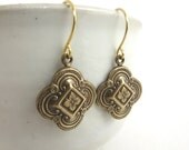 Quatrefoil Clover Earrings - Moorish Dangle Earrings - Ox Brass Earrings - Moroccan inspired - Bohemian Jewelry