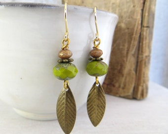 Beaded Jewelry - Green Czech Glass Bead Earrings - Chartreuse Bead Earrings - Brass Leaf - Nature inspired Jewelry