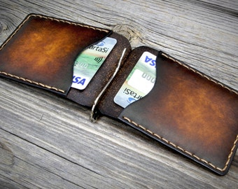 Leather Money Clip Wallet. Handmade Money Clip Wallet. Leather Clip Wallet. Money Clip Wallet.