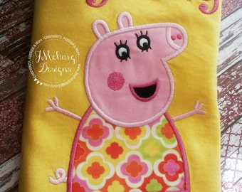 Peppa Pig Family Mummy Pig Birthday Custom Tee Shirt - Customizable -   Adults 170