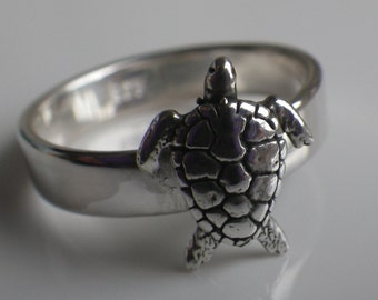 3D Turtle Sterling Silver Ring