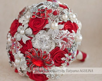 Brooch bouquet. Red and Ivory wedding brooch bouquet, Jeweled Bouquet. Made upon request