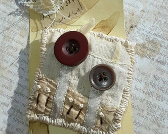 vintage style fabric brooch in soft browns made using vintage fabrics hand dyed wearable art textile brooch jewellery vintage buttons gift