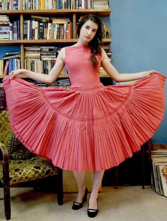 50's Pleated Dress Cotton