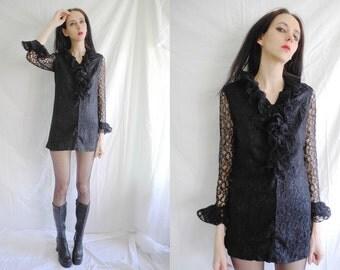 Mod/ goth 60's black lace ruffled micro mini dress.