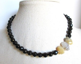 Black Onyx and Botswana Beaded Chunky Gemstone Statment Necklace Sterling Silver