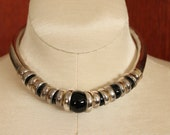 Vintage Handmade Tribal Mexican/Native American Sterling Silver Black Onyx Necklace Choker Unique