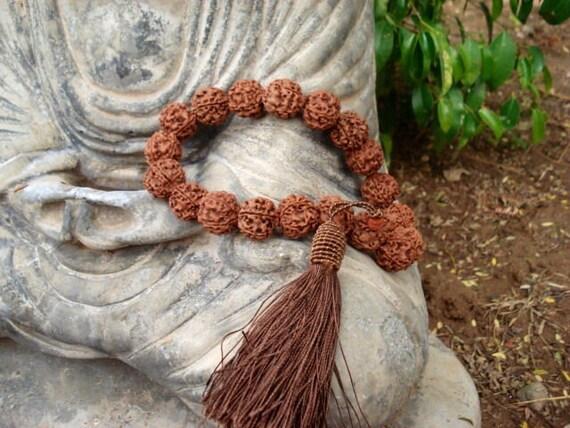 Rudraksha Mala, Prayer Beads, Meditation Mala, Yoga, Mala Beads, 19 Bead Mala, 5 Mukhi, Spirituality, Religious, Japa Mala, Meditation Mala