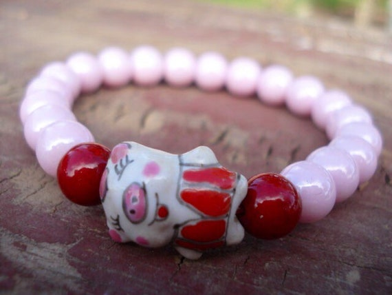 Pig Bracelet, Animal Bracelet, Pigs, Pig Jewelry, Pink Beaded Bracelet, Pig Collectibles, Girls Jewelry, Stretch Bracelet, Animal Jewelry