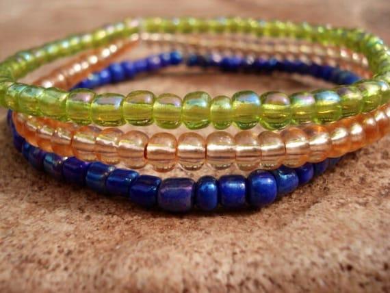 Peridot Blue Peach Stackable Bracelets, Glass Bead Bracelet, Seed Bead Bracelet, Tiny Bead Bracelet, Dainty Bead Bracelet, Hippie Bracelet